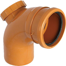 Floplast Underground Drainage Access Bend (Dia)110mm, Terracotta