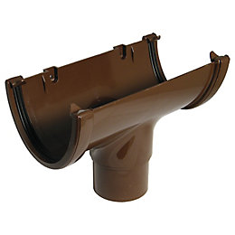 FloPlast Hi-Cap Gutter running outlet (Dia)115 mm, Brown