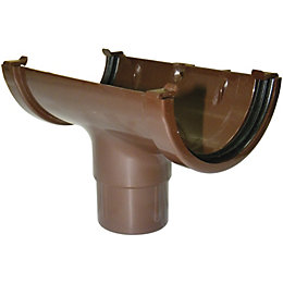 Floplast Miniflo Gutter Running Outlet (Dia)76 mm, Brown