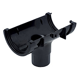 Floplast Miniflo Gutter Running Outlet (Dia)76 mm, Black