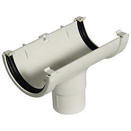 Floplast Miniflo Gutter Running Outlet (Dia)76 mm, White