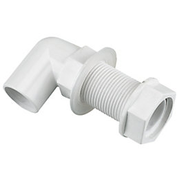 Floplast Overflow Waste Tank Connector (Dia)21.5mm, White