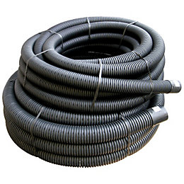 Floplast Land Drainage Flexible Coil Pipe (Dia)80mm, Black
