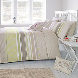 Falmouth Striped Green & Taupe Single Bed Set