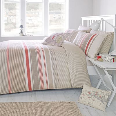 Falmouth Striped Terracotta King size Bed set