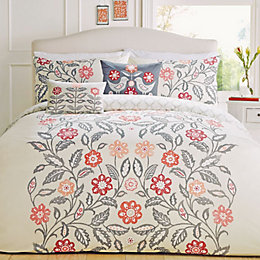 Montague Floral Red & Grey Double Bed Set