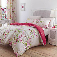Canterbury Floral Red, white & pink Double Bed set