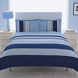 Chartwell Barcode Striped Blue Double Bed Cover Set