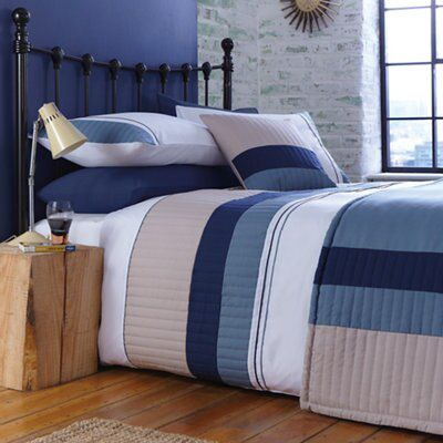 Chartwell Boston Striped Blue King Size Bed Cover