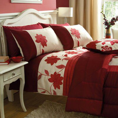 Chartwell annabel floral red king size bed cover set departments diy at bq