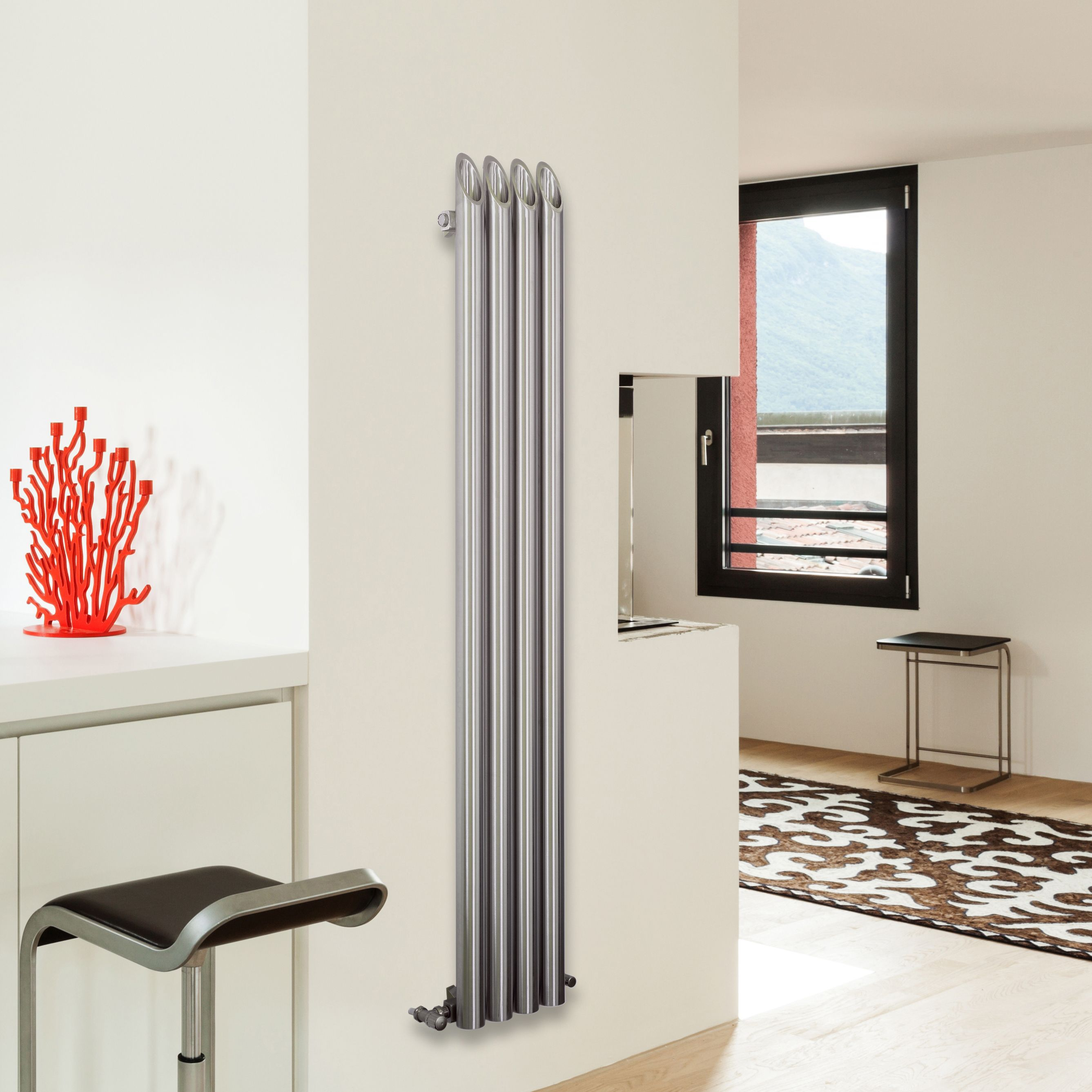 Tubular Vertical Radiator Brushed (H)1800 mm (W)130 mm