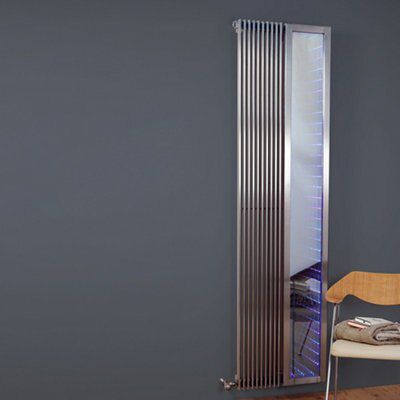 Infinity Mirror Electric Vertical Radiator Brushed (H)2000 mm