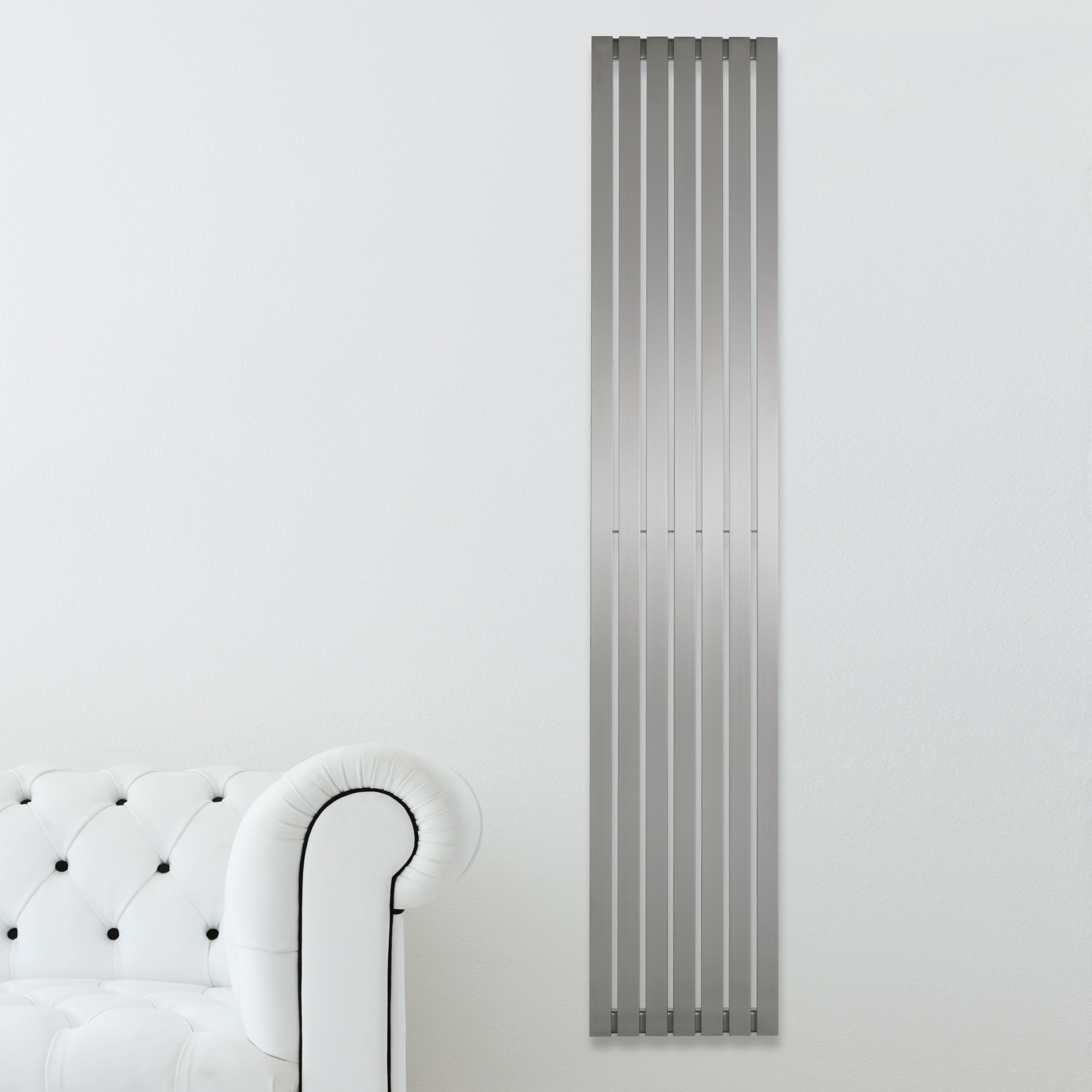 Kali Vertical Radiator Brushed (H)1800 mm (W)240 mm