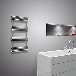 Pasadoble Brushed Steel Towel Radiator (H)705mm (W)500mm