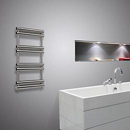 Pasadoble Brushed Steel Towel Radiator (H)990mm (W)500mm