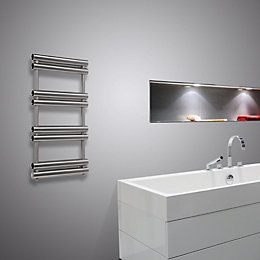 Pasadoble Brushed Steel Towel Radiator (H)1275mm (W)500mm