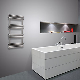 Pasadoble Brushed Steel Towel Radiator (H)1560mm (W)500mm
