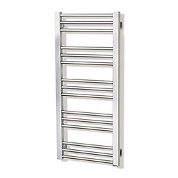 Mellis Brushed steel Towel rail (H)560mm (W)380mm