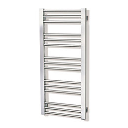 Mellis Brushed Steel Towel Rail (H)1000mm (W)480mm