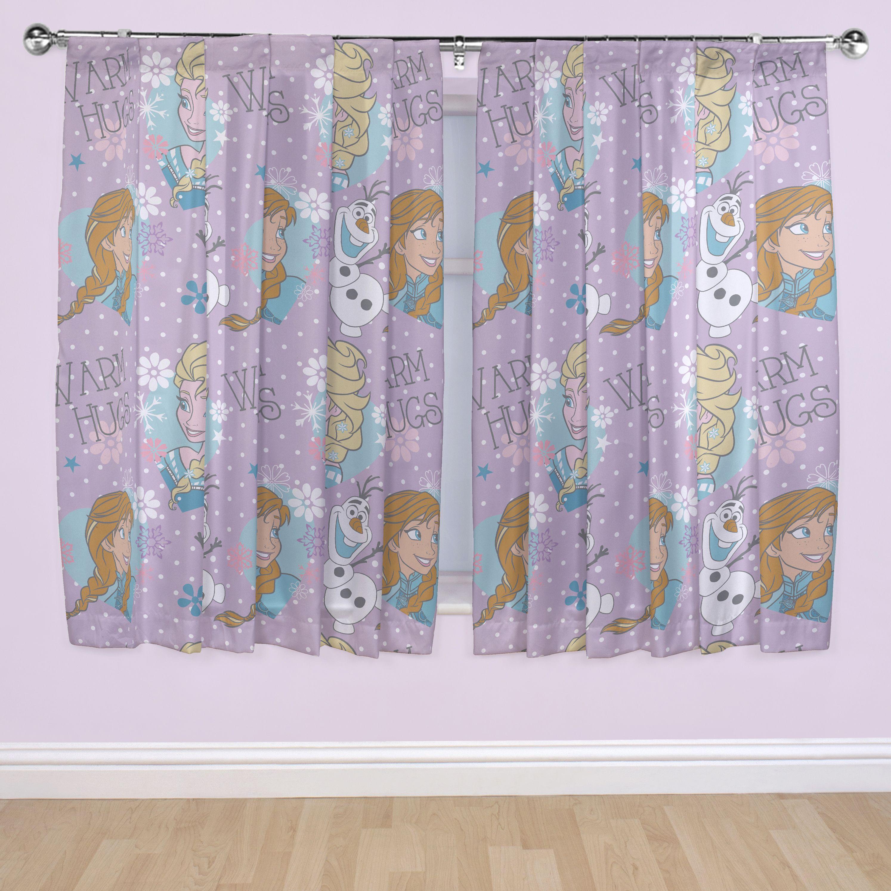 Frozen Purple Pencil Pleat Children's Curtains (W)167 cm