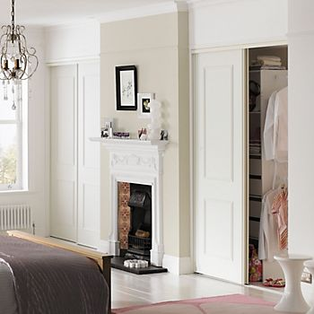 White Wood Effect Sliding Wardrobe Door