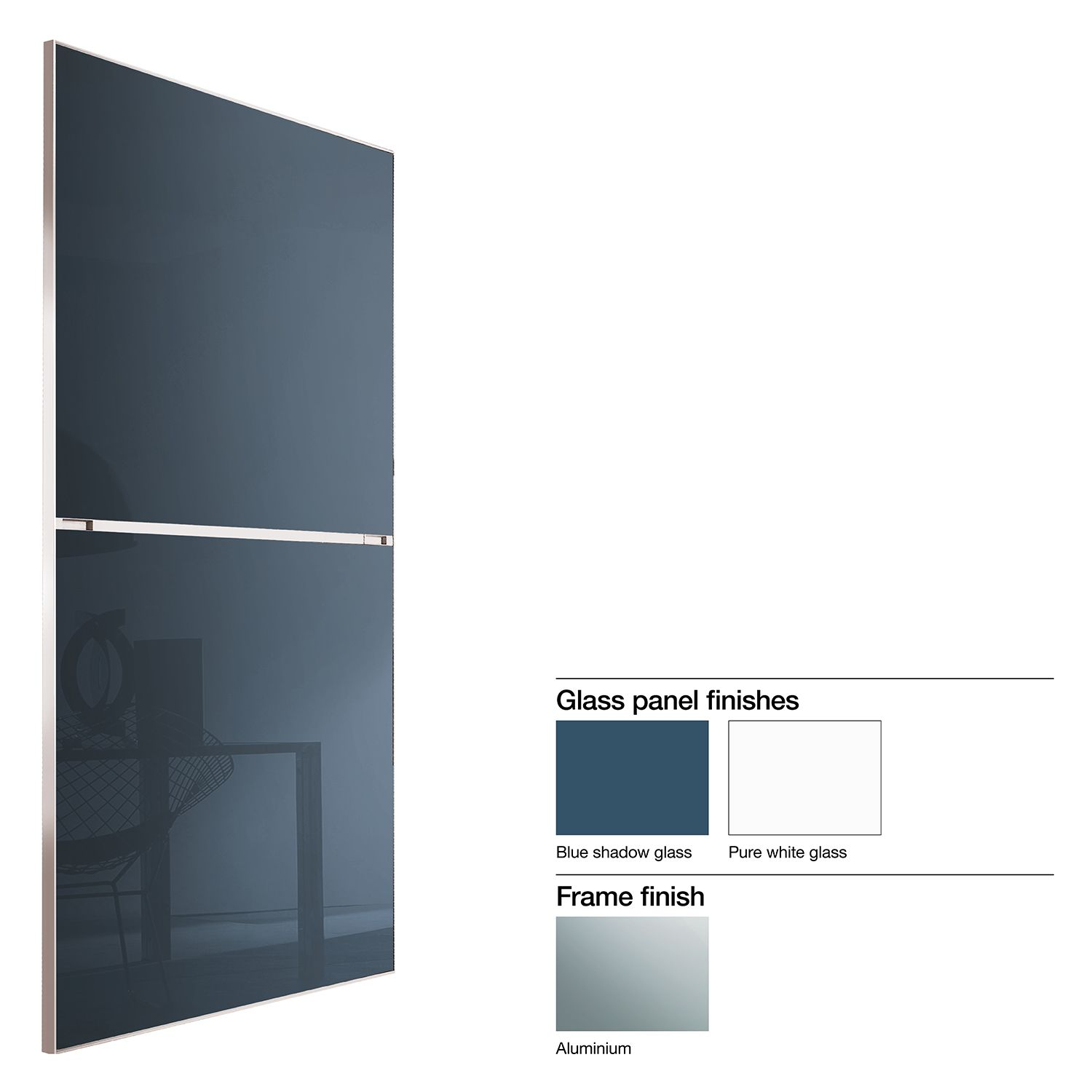 Made to Measure Minimalist 2 Panel Pure White & Blue Shadow Glass ...