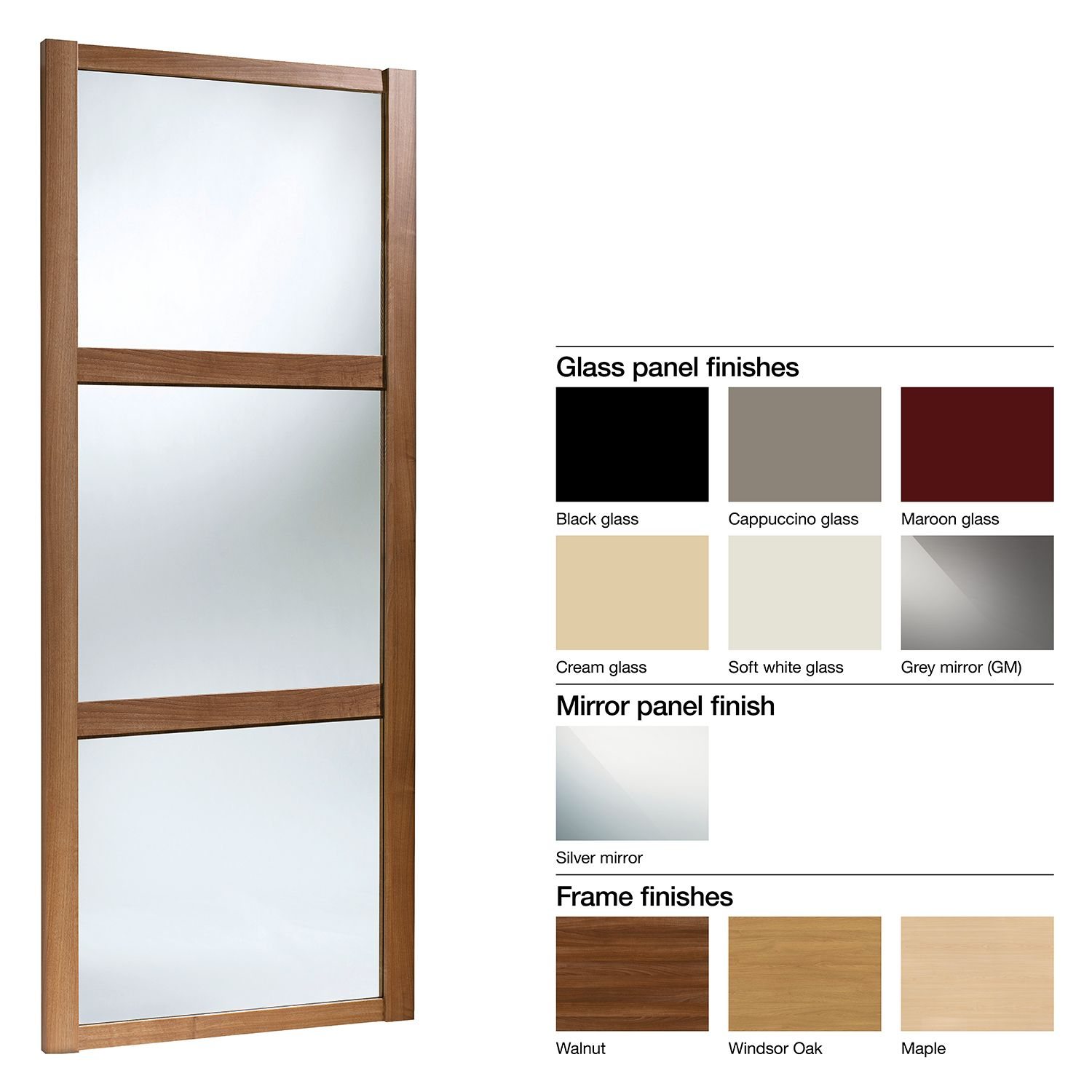 Made To Measure Shaker 3 Panel Glass Mirror Sliding Wardrobe Door