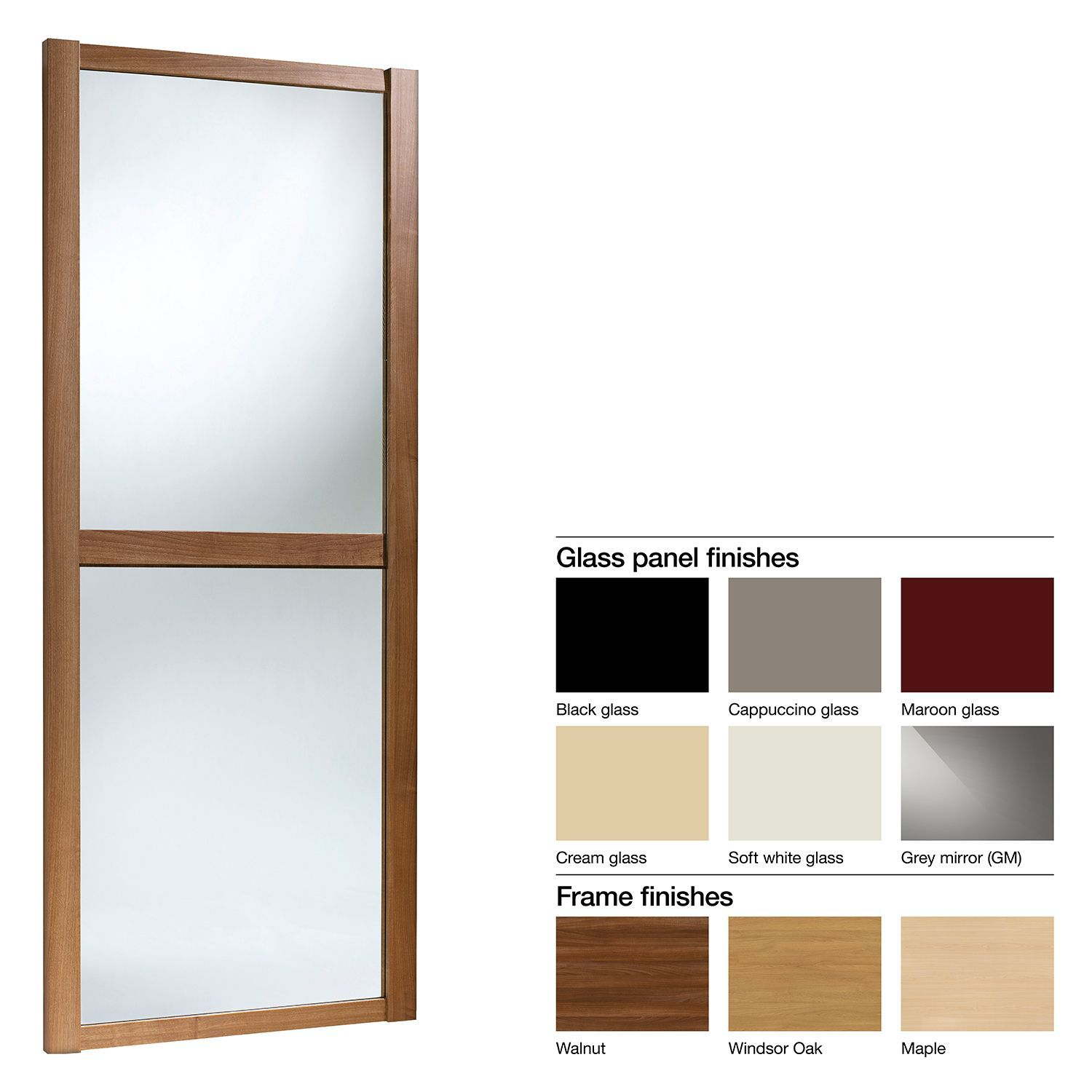 Made to Measure Shaker 2 Panel Glass Sliding Wardrobe Door (W)741 ...