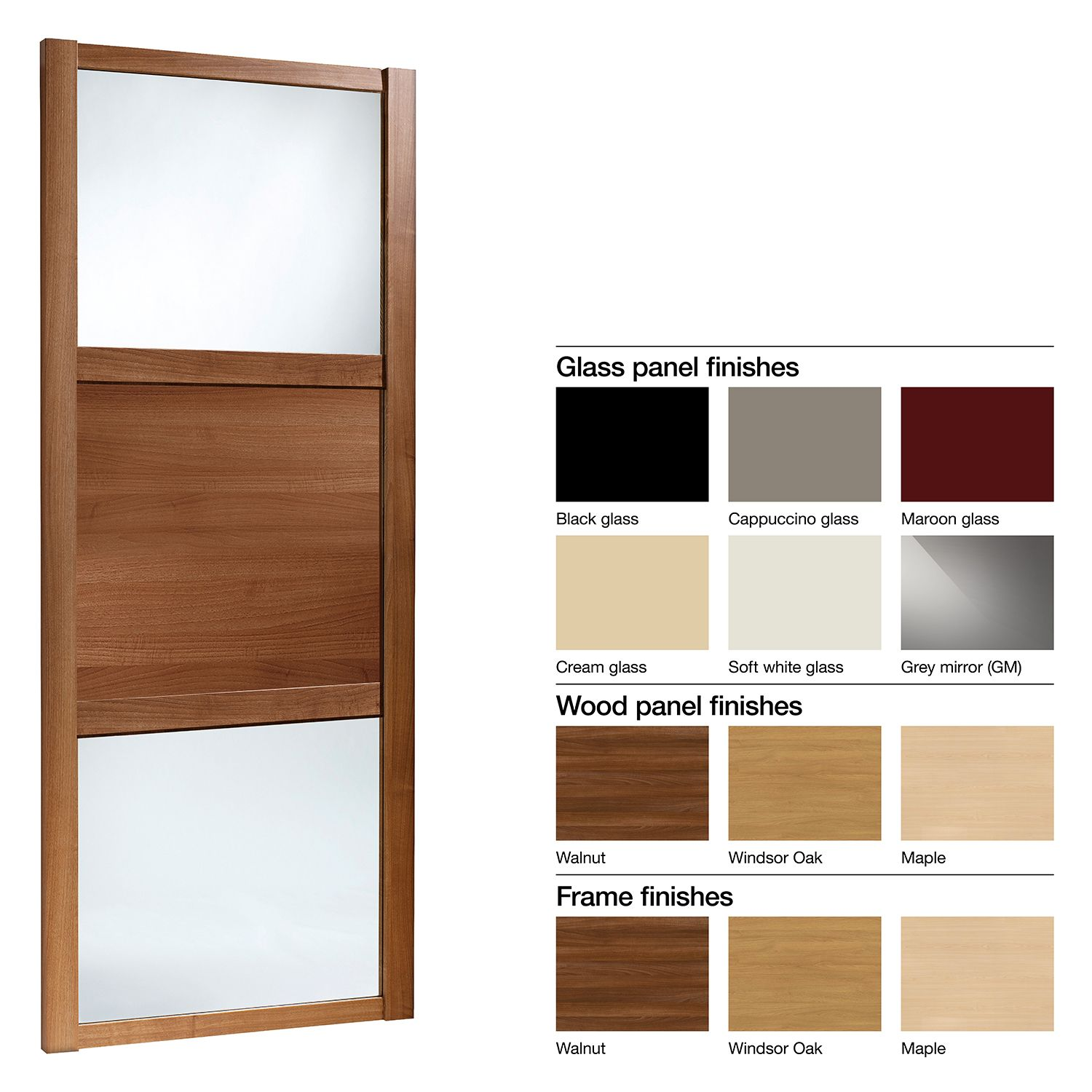 Made to Measure Shaker 3 Panel Glass & Wood Effect Sliding Wardrobe ...