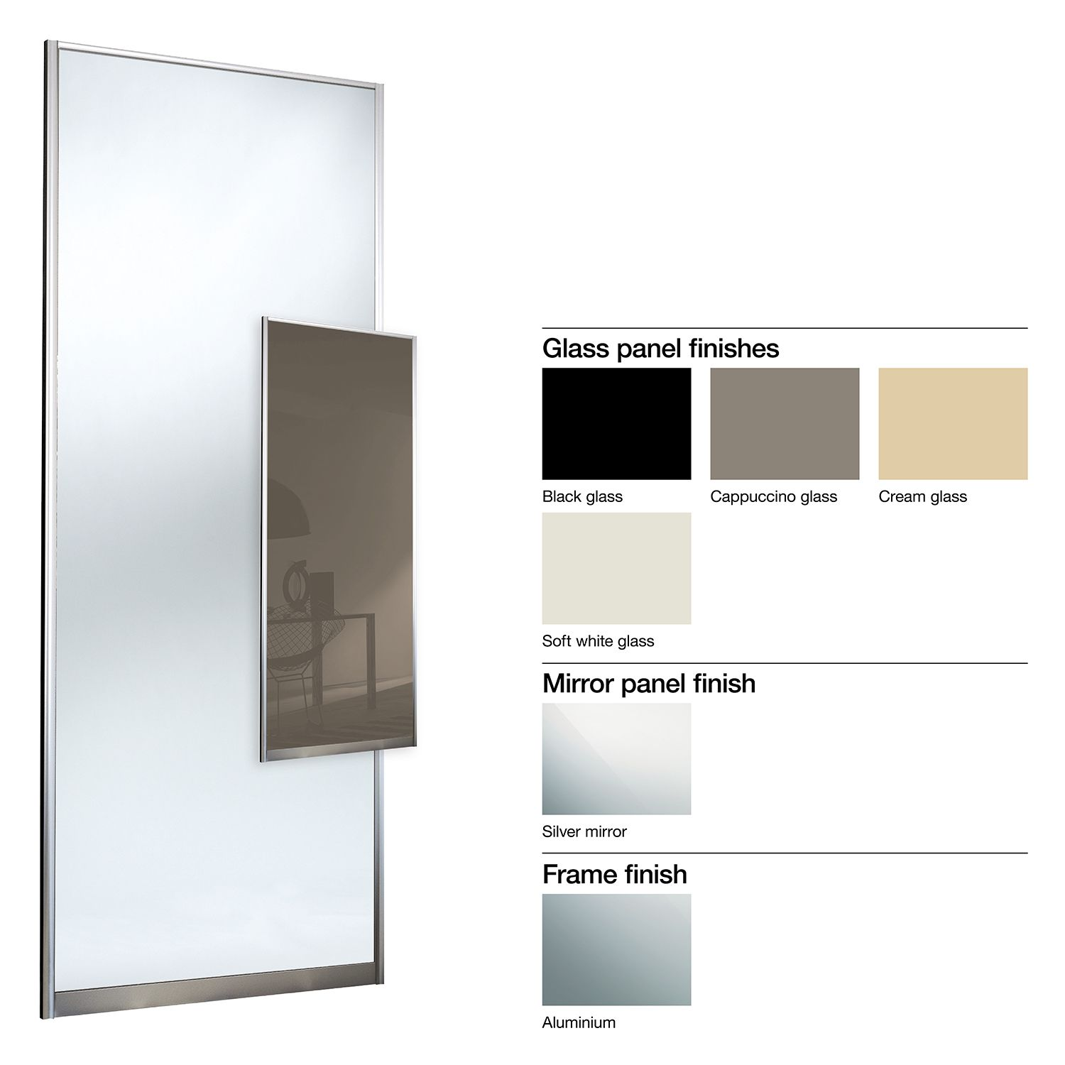 Made to Measure Double Sided 1 Panel Mirror & Glass Sliding Wardrobe ...