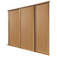 Shaker Natural Oak effect Sliding wardrobe door (H)2223 mm (W)610mm, Pack of 3
