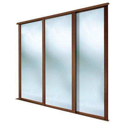 Shaker Mirrored Walnut effect Sliding wardrobe door (H ...