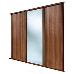 Shaker Mirrored Walnut effect Sliding wardrobe door (H)2223