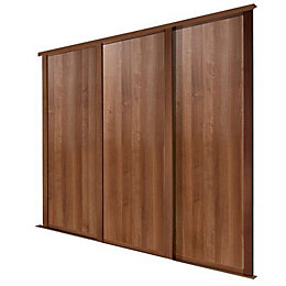 Natural Walnut Effect Sliding Wardrobe Door (H)2223 mm