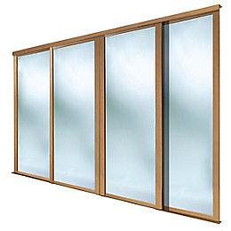 Shaker Mirrored Natural Oak effect Sliding wardrobe door