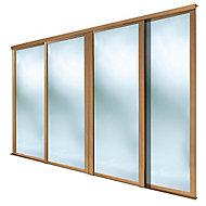 Shaker Mirrored Natural Oak effect Sliding wardrobe door (H)2223 mm (W)762mm, Pack of 4