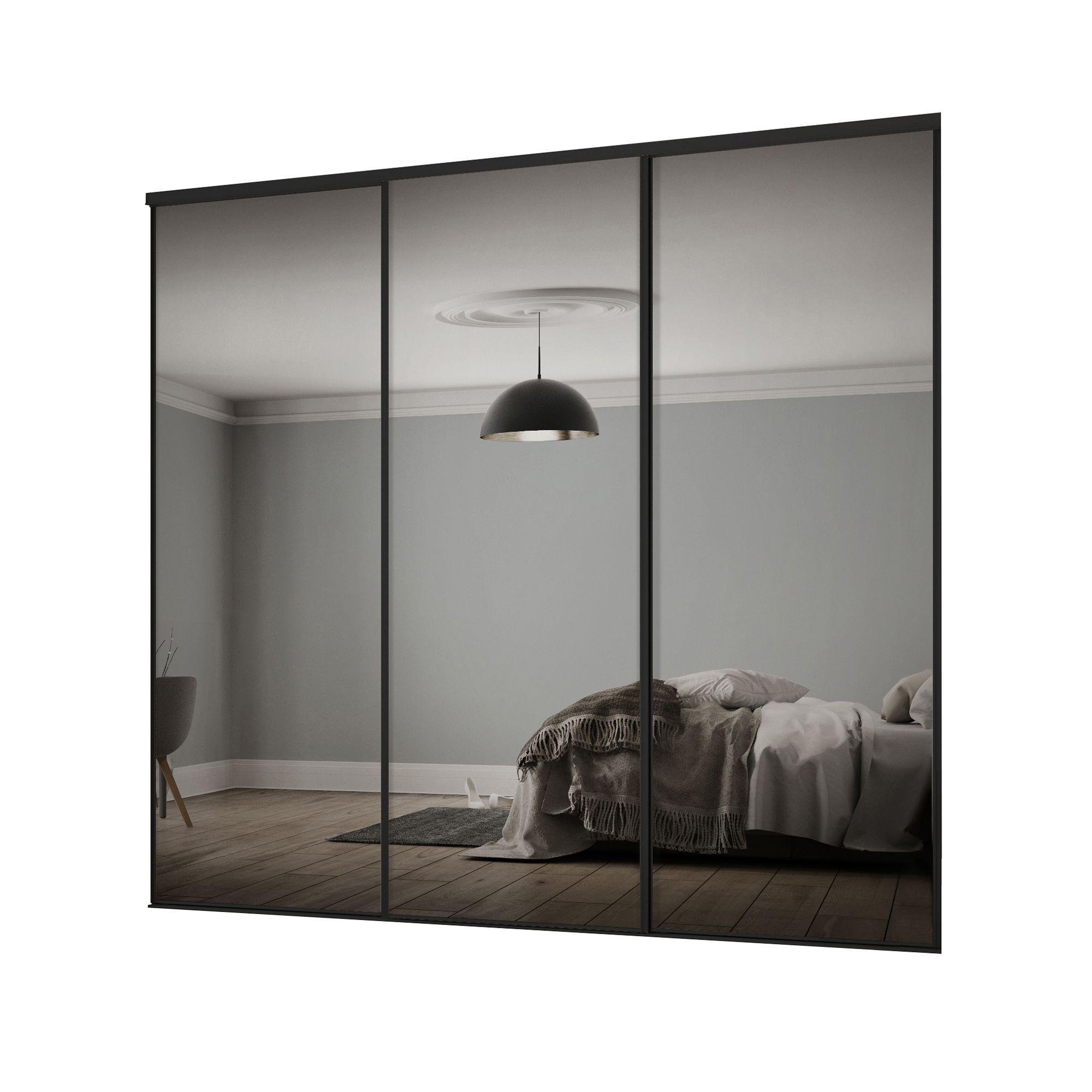 Classic Mirrored 3 door Sliding Wardrobe Door kit (H ...