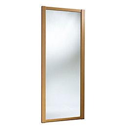 Shaker Mirrored Natural Traditional Oak Effect Sliding Wardrobe