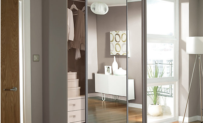 Mirrored stainless steel effect sliding wardrobe doors