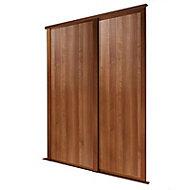 Shaker Natural Walnut effect Sliding wardrobe door (H)2223 mm (W)610mm, Pack of 2