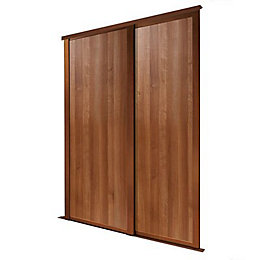 Shaker Natural Walnut effect Sliding wardrobe door (H)2223