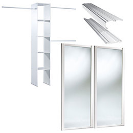 Mirrored White Sliding wardrobe door kit with Internal