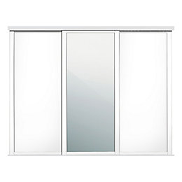 Shaker White Mirror Sliding Wardrobe Door (W)762mm, Pack
