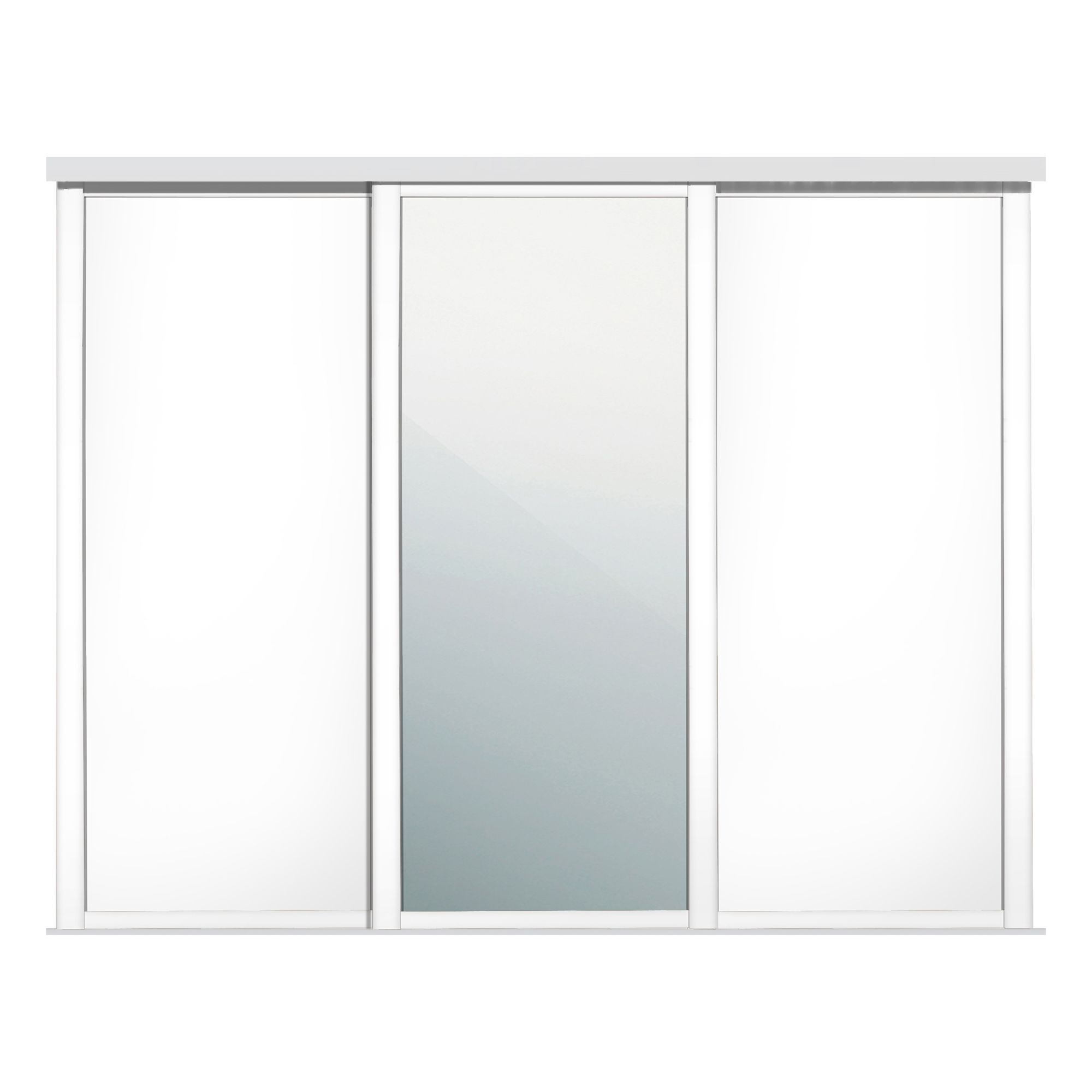 Shaker Mirrored White Sliding wardrobe door (W)914mm, Pack ...