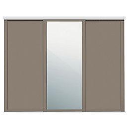 Shaker Mirrored Stone grey Sliding wardrobe door (W)610mm,