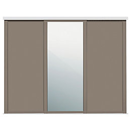 Shaker Mirrored Stone grey Sliding wardrobe door (W)914mm,