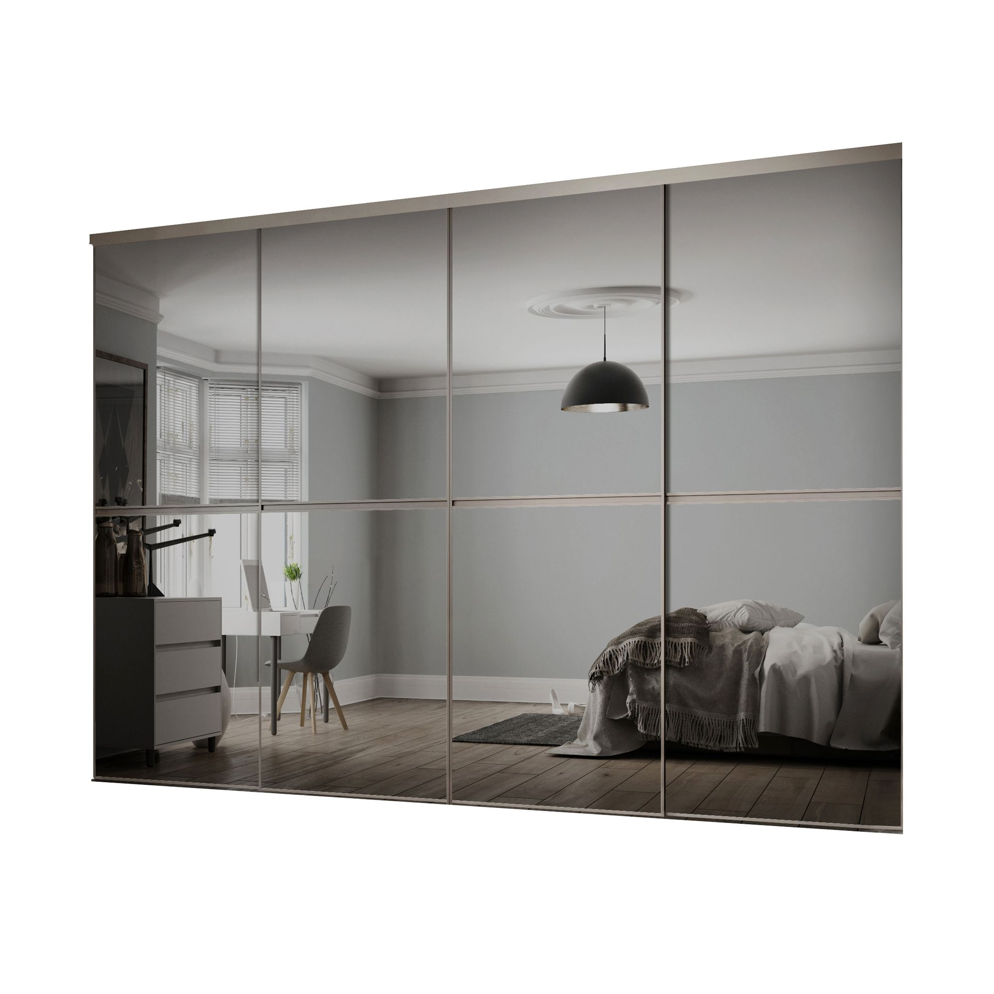 Minimalist Mirrored Grey 4 door Sliding Wardrobe Door kit ...