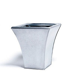 Universal Square Glazed Metal Silver Effect Plant Pot