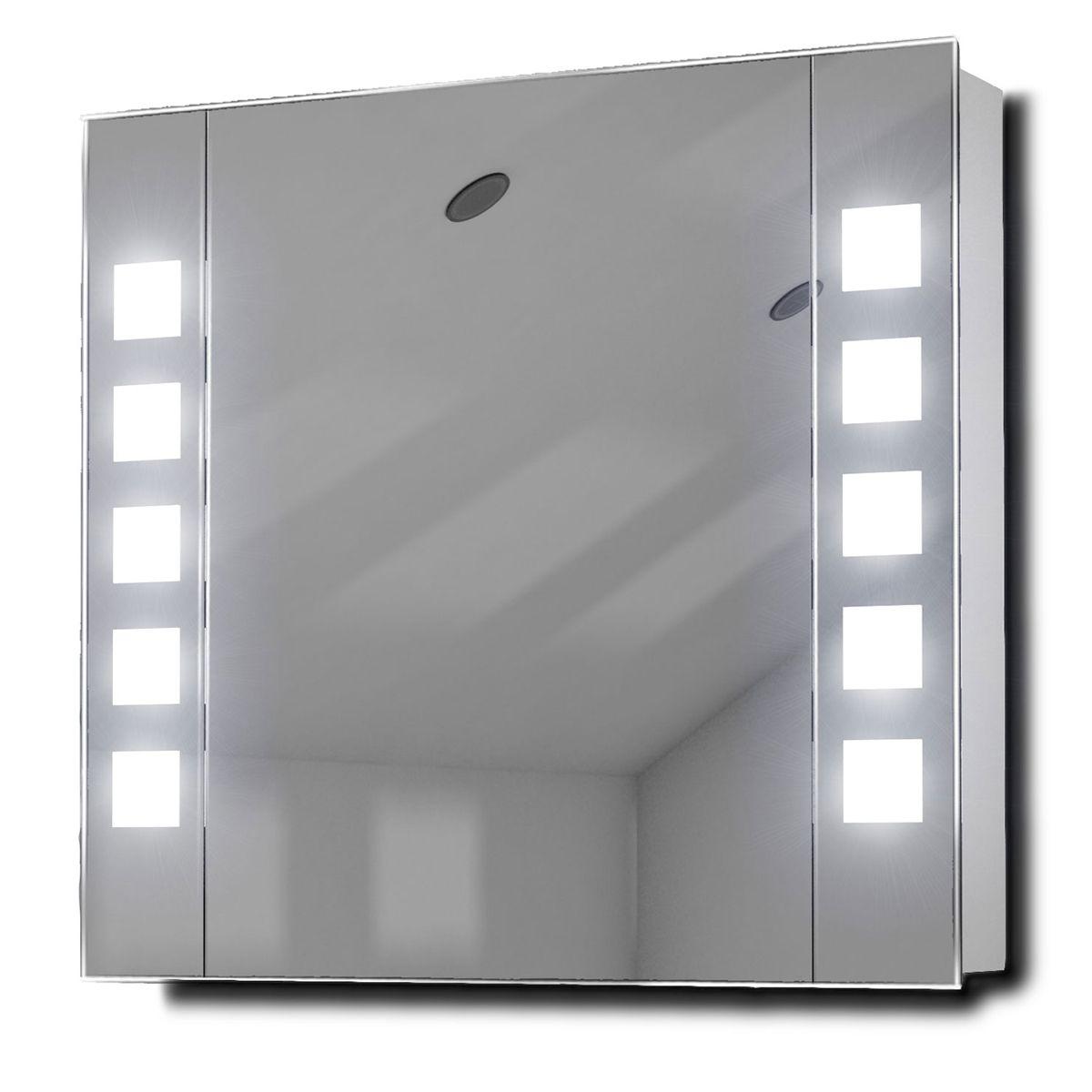 diamond x collection noble sensor illuminated bathroom rectangular mirror cabinet w 65cm h. Black Bedroom Furniture Sets. Home Design Ideas