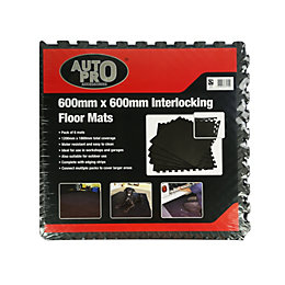 Auto Pro Interlocking EVA Foam Black Floor Mats,